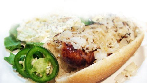 Jalapeno Cheddar Brat Special at the Royal Grille