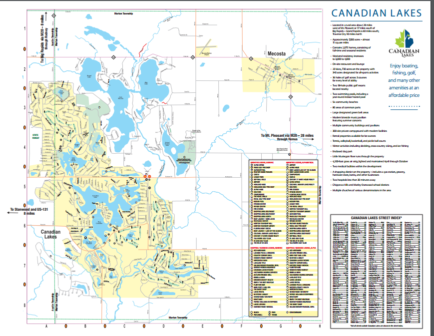 Stanwood Michigan Map.Discover The Canadian Lakes Community Michigan